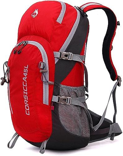 MISHUAI Sac à Dos d'alpinisme Sacs à Dos de Grande capacité pour Le Camping Sauvage imperméable à l'eau Sac à Dos Grande capacité (Couleur   Rouge)