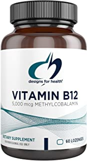 Designs for Health Vitamin B12 Lozenges - 5000mcg B12 as Methylcobalamin - Non GMO, Gluten Free Vegetarian Supplement -Del...