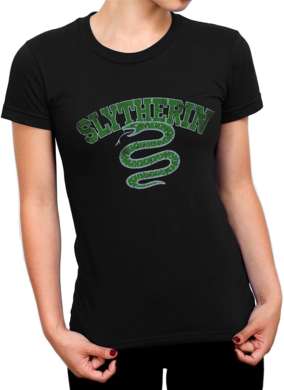 Harry Potter Distressed Slytherin Snake Ladies Black T-Shirt