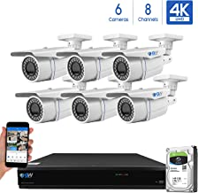 GW 8-Channel 4K H.265 Complete CCTV Security System with (6) x HD 8MP 2160P Outdoor/Indoor 2.8-12mm Varifocal Zoom 4K Bullet Security Cameras and 2TB HDD, QR Code Scan Free Remote View
