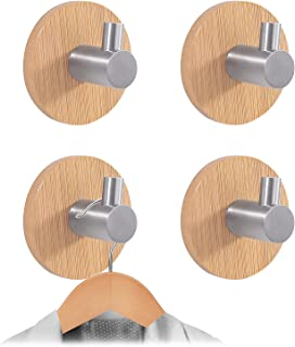 Newness Towel Hooks, [Strong & Sturdy] Modern 304 Stainless Steel and Bamboo Robe Hooks, Waterproof Adhesive Hooks for Han...