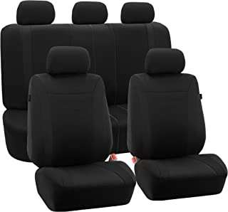 FH Group FB054BLACK115 Black Cosmopolitan Flat Cloth Seat Cover (Airbag Ready Split Bench Solid Full Set)