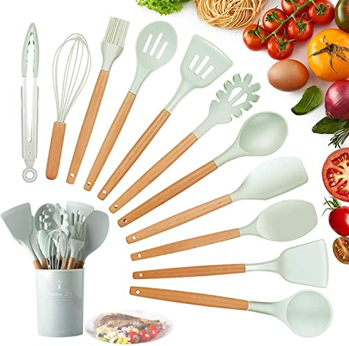 Utensilios Cocina de Silicona,KagoLing 12 Piezas Juego de Utensilios de Cocina Resistentes al Calor y Antiadherentes ...