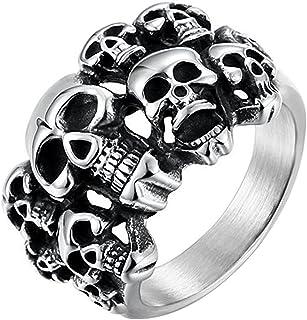 XAHH Men's Vintage Classic Gothic Embossed Skull Biker Stainless Steel Ring Band Silver Black