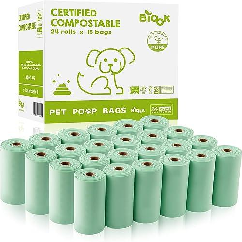 BIOOK Sacs à Déjections Canines 100% Biodégradables, 360 sacs, Matériaux à Base de Fécule de maïs+PLA+PBAT Compostabl...