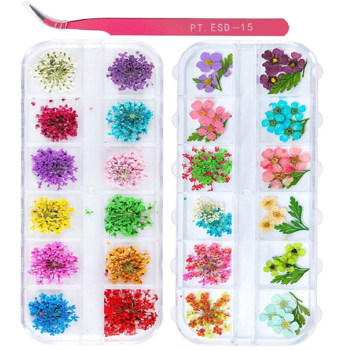 2 Boxes Nail Art Dried Flowers Dry Colors Max 46% OFF OFFicial 24 UNIME Mini