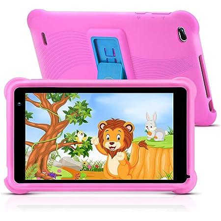qunyiCO 7 pouces Tablette pour enfants 32Go Android 10.0 Caméra WiFi Bluetooth 2Go de RAM Écran tactile HD 1024*600 Étui pour enfants Contrôle parental Apprentissage sur Google Playstore certifié Rose