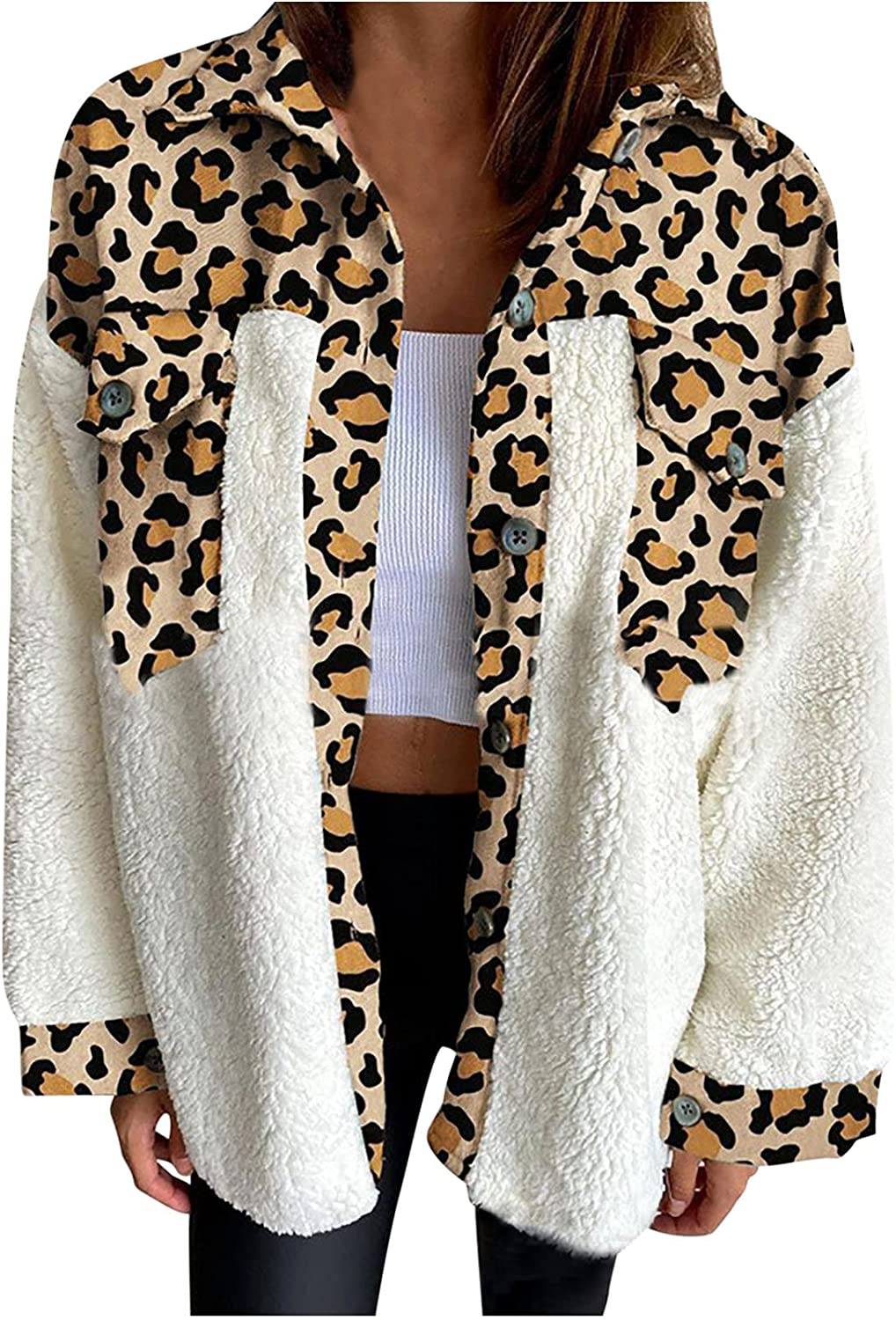 Women's Fashion Jacket Leopard Patchwork Coat Long Sleeve Shirt Button up Tunic Tops Casual Plus Outerwear with Pocket
