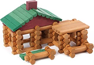 Wondertoys 90 Piece Classic Wood Cabin Logs Set Building Toy for Children Educational Gifts