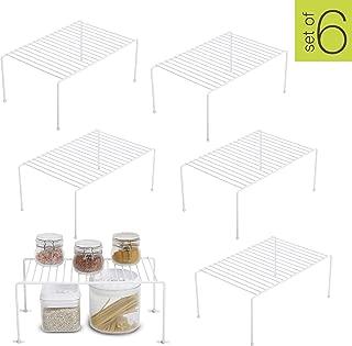 Smart Design Kitchen Storage Shelf Rack w/Plastic Feet - Medium - Steel Metal - Rust Resistant Finish - Cups, Dishes, Cabinet & Pantry Organization - Kitchen (13.25 x 6 Inch) [White] - Set of 6