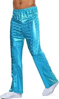 COOFANDY Mens Shinny Metallic Pants 70's Disco Bell Bottom Party Nightclub Flare Leggings