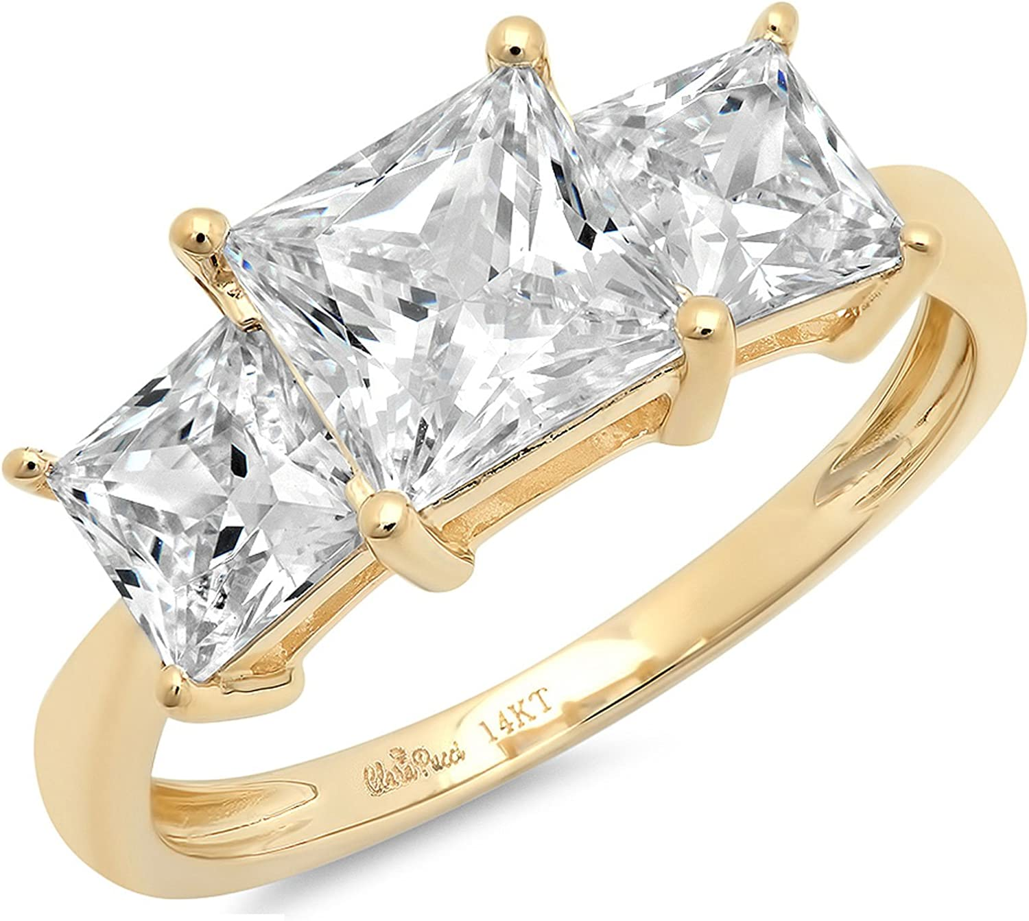 3ct Brilliant Princess Cut 3 Stone Solitaire with Accent Stunning Genuine Moissanite Ideal VVS1 & Simulated Diamond Engagement Promise Statement Anniversary Bridal Wedding Ring Solid 14k Yellow Gold