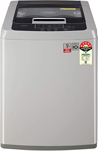LG 7 kg 5 Star Inverter Fully-Automatic Top Loading Washing Machine (T70SKSF1Z, Middle Free Silver, TurboDrum) 1