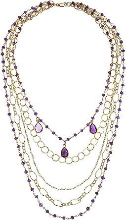 Layered Amethyst Gemstone Necklace