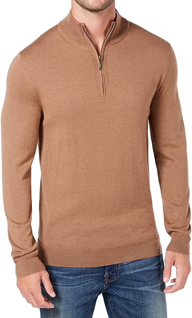 Club Room Mens Sweater Small Wool Mock-Neck 1/4 Zip Pullover Brown S