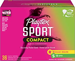 Sponsored Ad - Playtex Sport Compact Athletic Tampons, Regular & Super Absorbency, Multi-Pack of 36 Tampons