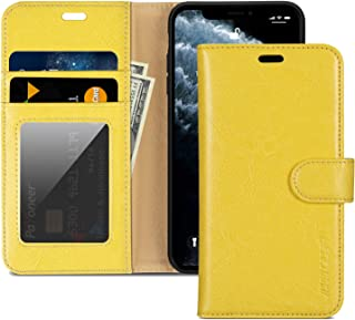 """JISONCASE iPhone 11 Pro Wallet Case, Anti-Slip Genuine Leather iPhone 11 Pro Wallet Case with Cards Holder & Magnetic & RFID Blocking, Protective Cover Flip Case for Apple iPhone 11 Pro-5.8"""" Yellow"""