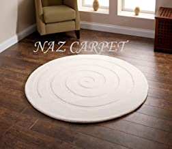 Naz Carpet Handwoven Pure Woolen Modern Carpets Collection Loop/Cut Pile for Bedroom-Drawing Room-Floor-Dining Hall (5x5 Feet Round Shape) Color Ivory