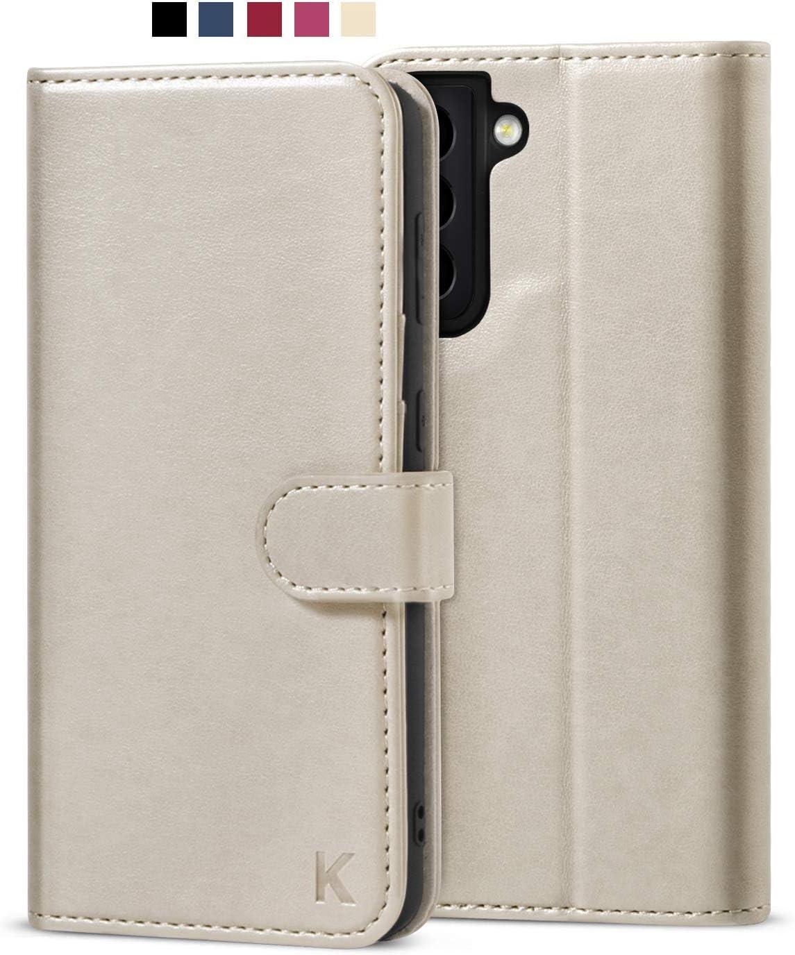 KILINO Galaxy S21 Wallet Case [RFID Blocking] [PU Leather] [Shock-Absorbent Bumper] [Soft TPU] [Card Slots] [Kickstand] Flip Folio Cover for Samsung Galaxy S21 5G (Gray)