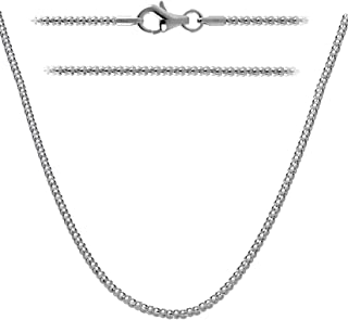 Kezef Creations Rhodium Plated Sterling Silver .925, 2mm Popcorn Chain Necklace