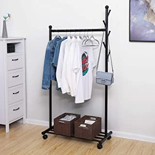 House of Quirk Heavy Duty Clothes Rack, Coat Rack with 5 Side Hook Coat Stand and Storage Shelf, Clothes Rail - Black DIY (DO-IT-Yourself) Product.