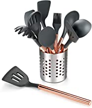 HCHUANG Kitchen Utensil Set-10 PCS Silicone Cooking Utensils Kitchen Utensil Set-Rose Gold Stainless Steel Handle Kitchen ...