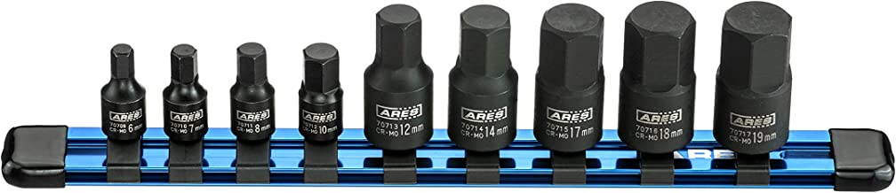 ARES 70497-9-Piece Metric Impact Hex Driver Set - Chrome Moly Steel Construction and Manganese Phosphate Coating - Includes Storage Rail | Low Profile and Designed for Impact Use