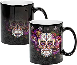 Sweet Gisele   Sugar Skull Mug   Heat Activated   Color Changing Coffee Cup   Floral Pattern Ceramic   Reveals Vivid Colors   Great Novelty Gift   Black   11 Fl. Oz