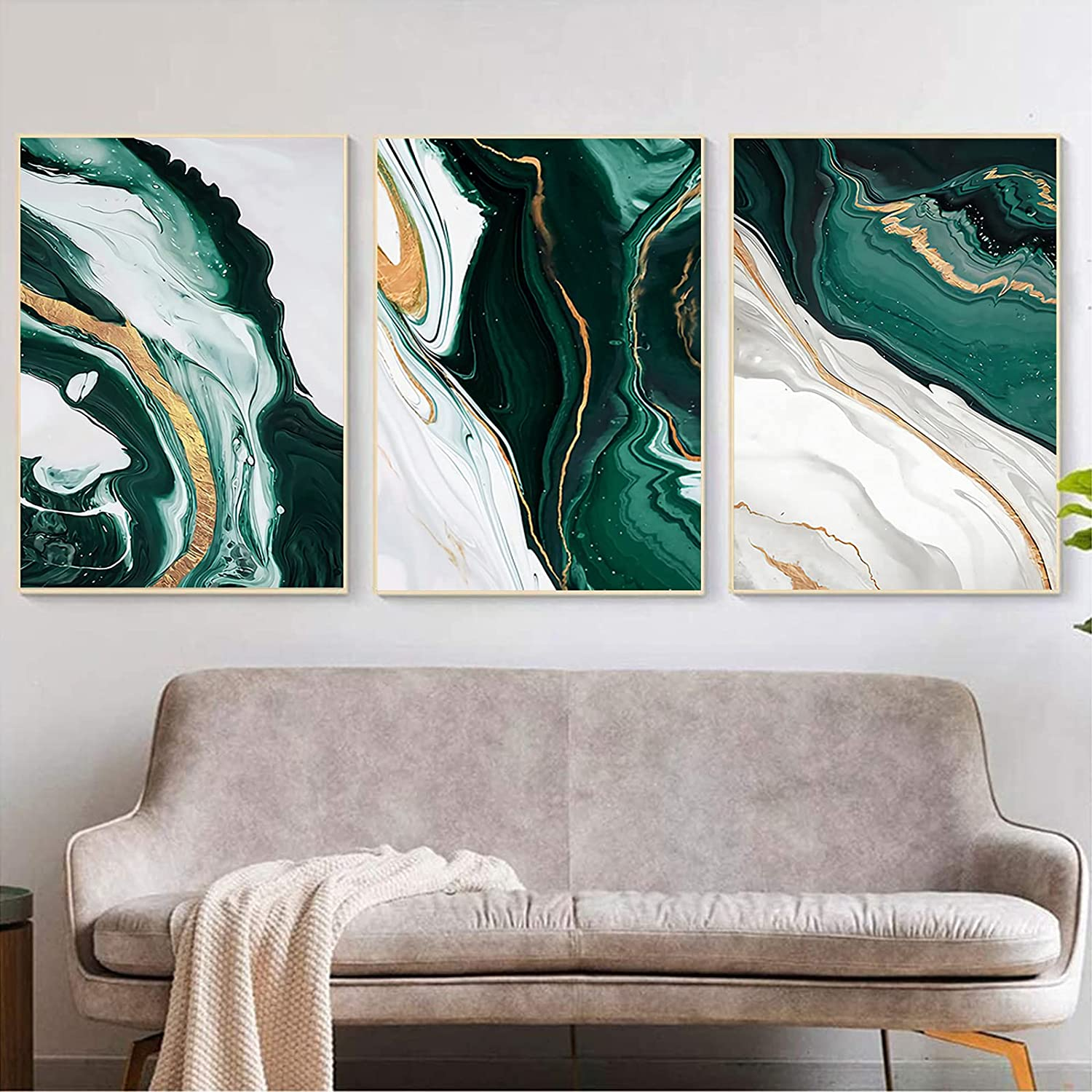 Modern Abstract Dark Green Gold Foil Lines Marble Canvas Art Paintings Living Room Bedroom Posters Prints Wall Poster Home Decor No Frame