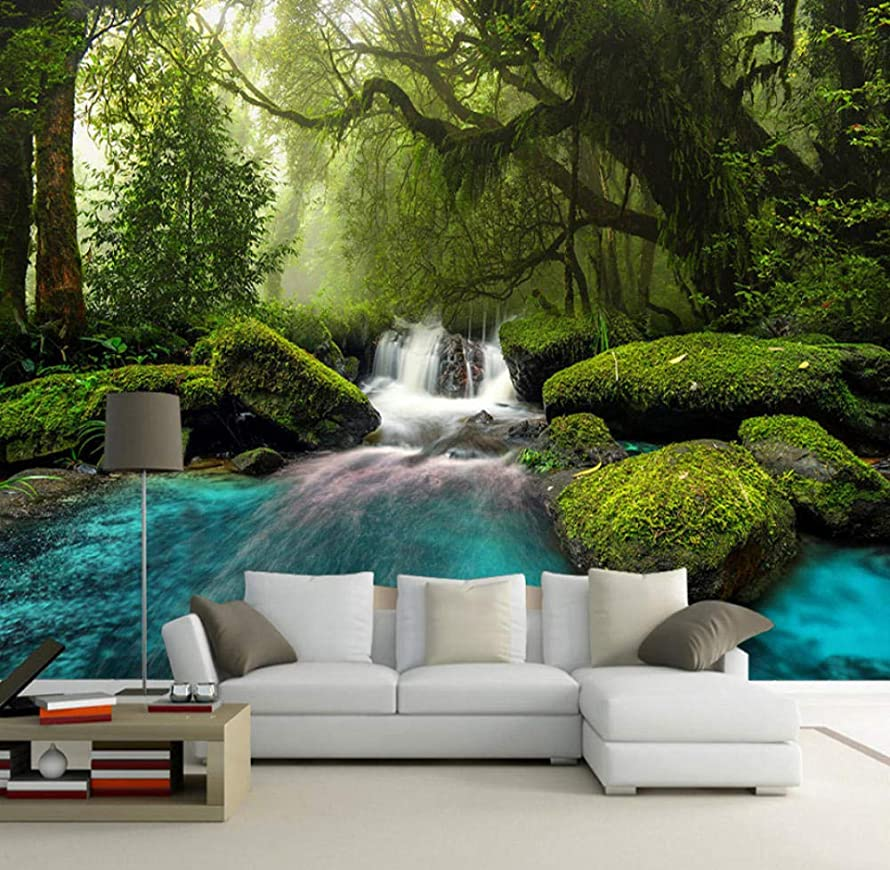 Yynight Forest Waterfall Large Murals Photo Mural Wall Papers Home Decor 3D Living Room Sofa Tv Background Wall Painting Modern-200Cmx140Cm