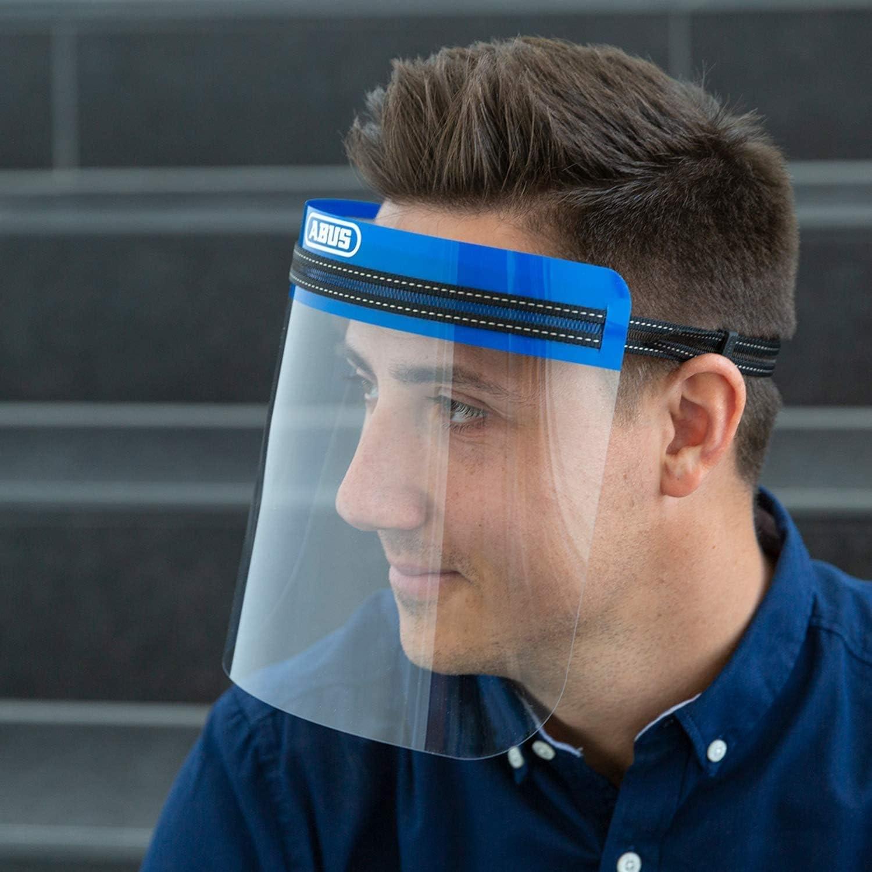 Abus Face Guard 62845 - Protector Facial con Amplia Visera de Cristal acrílico - Certificado EN 166 - Lavable, Adecuado para Personas con Gafas - 1 Unidad