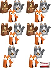 (16 Pack) Wild One Jungle Forest Animals Fox Raccoon Beaver Party Paper Loot Treat Candy Favor Bags with Attachments (Plus Party Planning Checklist by Mikes Super Store)