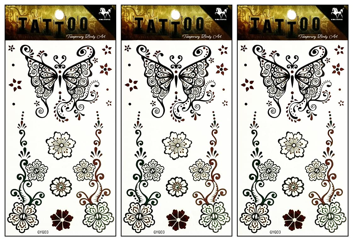 ONCEX Superlatite 3 Sheets Max 68% OFF Black flower Tattoos butterfly Temporary Waterpro