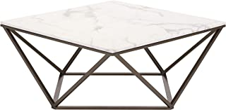 Zuo Modern Tintern Coffee Table, Stone and Antique Brass, Square Marble-like Top, Architecturally Inspired Base, Modern Op...