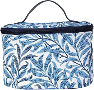 (Willow Bough) - Light Blue William Morris Willow Bough Tapestry Round Large Cosmetic Bag Travel Makeup Organiser Case wit...