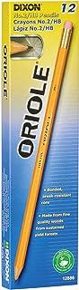 Dixon Oriole No:2 Pre-Sharpened Pencils, Wood Cased, Black Core, Box of 12, Yellow (12886)