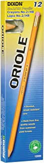 DIXON Oriole Wood-Cased Pencils with Erasers, Graphite, #2 HB, Pre-Sharpened, Yellow, 12-Pack (12886)