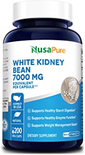 White Kidney Beans 7000mg 200 Veg Capsules - Extract 20:1, Vegan, Gluten-Free and Non-GMO