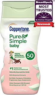 Coppertone Pure & Simple Baby Tear Free Mineral-Based Sunscreen Lotion Broad Spectrum SPF 50 (6 Fluid Ounce) (Packaging Ma...