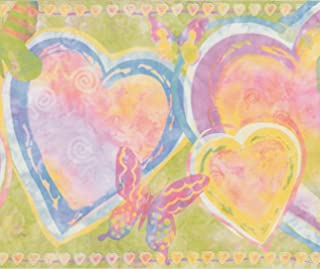 Blue Purple Heart Butterfly Abstract Wallpaper Border for Kids Bedroom Bathroom Playroom, Roll 15' x 9