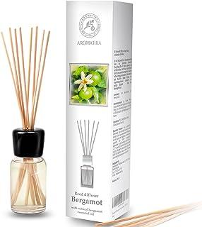 Difusor de Bergamota 100ml - con 8 palitos de bambú - Aceite Esencial Puro Natural - Fragancias de Ambiente Intensas y Duraderas - 0% Alcohol - Set de Fragancia para Aromatizar el Aire para Cuartos