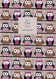 Owl Notebook - Lined Pages - A4 - Premium: (Pink Edition) Fun Notebook 192 lined pages (A4 / 8.27x11.69 inches / 21x29.7cm)