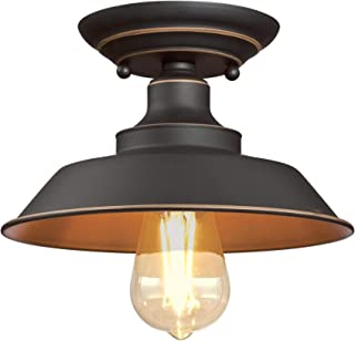 Westinghouse Lighting 6370100 Iron Hill 9-Inch, One-Light Indoor Semi Flush Mount Ceiling Light, Oil Rubbed Bronze Finish with Highlights