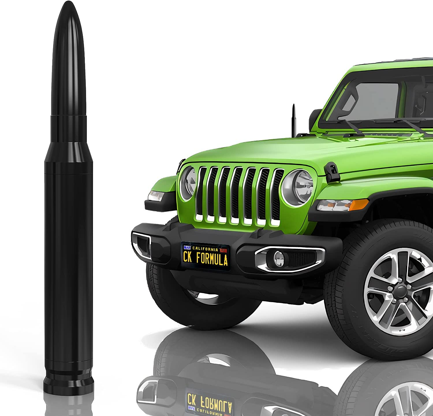 """CK FORMULA 50 Cal Bullet Antenna for SUV, 5.5"""" Black Automotive Antenna Replacement, AM/FM Radio Compatibility, Solid 6061 Aluminum Grading, Anti Theft Design, Car Wash Safe, Universal Fit, 1"""