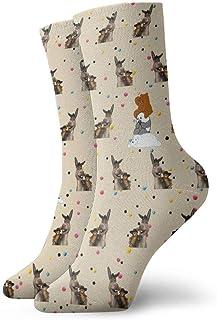 Kevin-Shop, Calcetines de compresión Cute Donkey and Bear Pande Cartoon Calcetines de Equipo, Calcetines Finos Tobillo Corto para Exterior, absorción de Humedad atlética