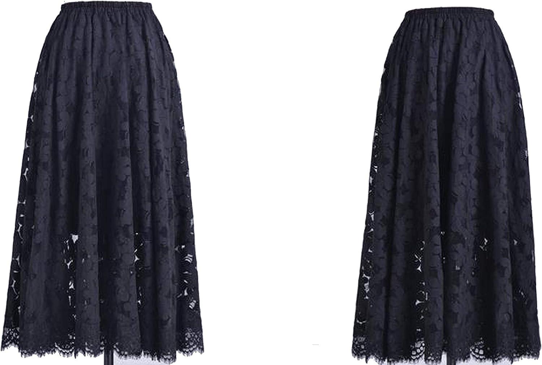 bluee Skieses Spring New Women Long Skirt Elegant Slim lace Elastic Waist Skirts