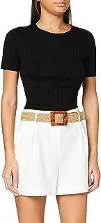 MISS SELFRIDGE Ivory Wicker Belt Shorts Pantalones Cortos para Mujer