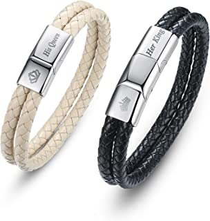 DESIMTION Couple Bracelet for Him and Her Matching Relationship Leather Bracelets Anniversary Christmas Valentines Gifts f...