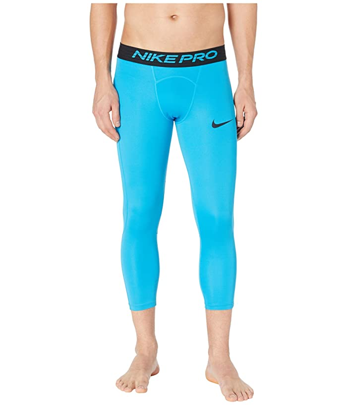 Nike   Pro Tights 3/4 (Laser Blue/Black) Mens Casual Pants