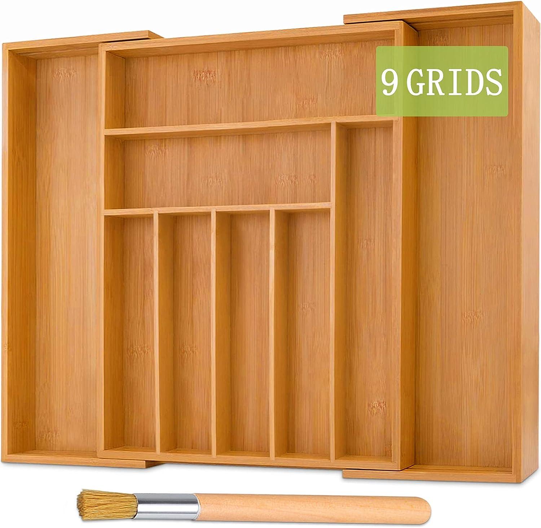 TWBEST Caja de cubiertos de bambú,Organizador de Cubiertos de Madera+1 cepillo de limpieza,Bandeja para cubiertos con 7 a 9 Compartimentos,Cubertero,32-52*41*5cm